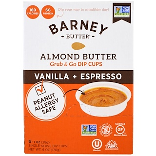 Barney Butter, Almond Butter, Grab & Go Dip Cups, Vanilla + Espresso, 6 Single - Serve Dip Cups, 1 oz (28 g) Each