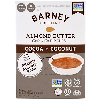 Barney Butter, Almond Butter, Grab & Go Dip Cups, Cocoa + Coconut, 6 Single-Serve Dip Cups, 1 oz (28 g) Each