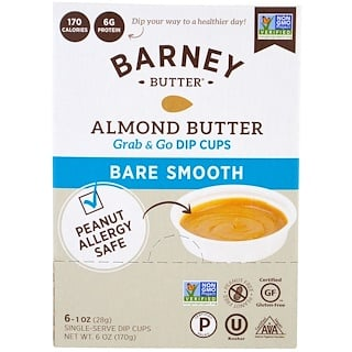 Barney Butter, Almond Butter, Grab & Go Dip Cups, Bare Smooth, 6 Single-Serve Dip Cups, 1 oz (28 g) Each