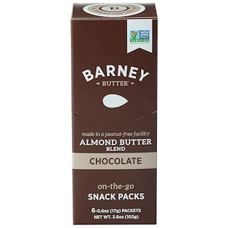 Barney Butter, Almond Butter Blend, On-The-Go Snack Packs, Chocolate, 6 Packets, 0.6 oz (17 g) Each