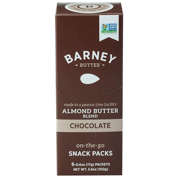 Barney Butter, 含有杏仁醬,即食小吃包,巧克力,6包,每包0、6盎司(17克)