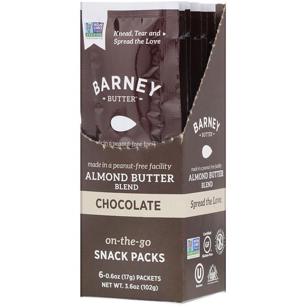 Barney Butter, アーモンドバターブレンド、携帯スナックパック、チョコレート、6包、各0.6オンス (17 g)