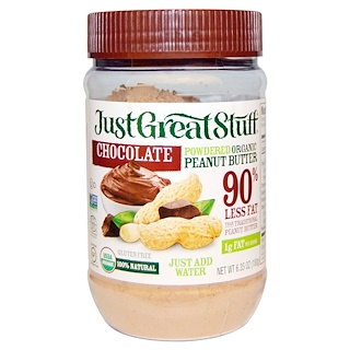 Betty Lou's, Just Great Stuff, Powdered Organic Peanut Butter, Chocolate, 6.35 oz (180 g)