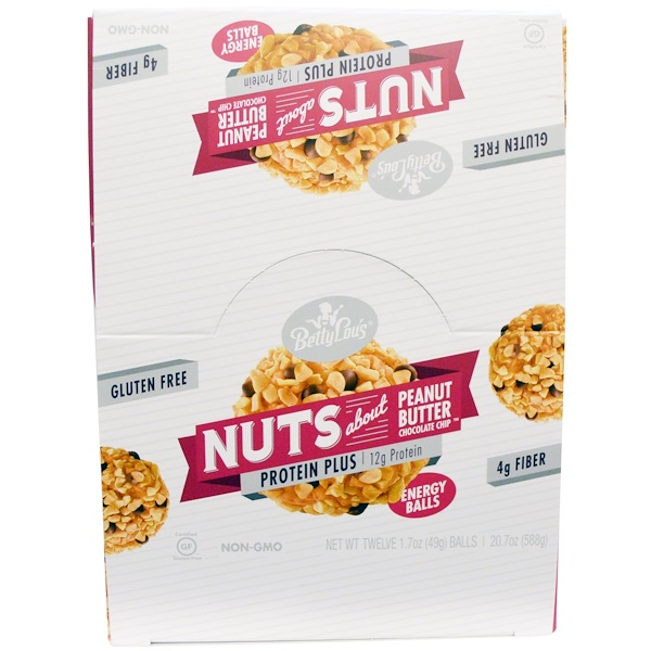 Betty Lou's, Nuts About Peanut Butter Chocolate Chip, Protein Plus Energy Balls, 12 Balls, 1.7 oz (49 g) Each (Discontinued Item)
