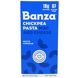 Banza, Мак-и-чиз паста с нутом, белый чеддер, 156 г (5,5 унций)