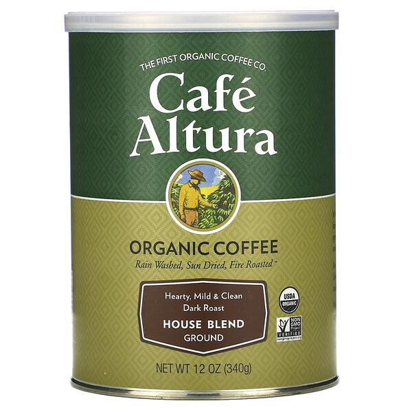 Organic Coffee, House Blend, Dark Roast, Ground, 12 oz (340 g)