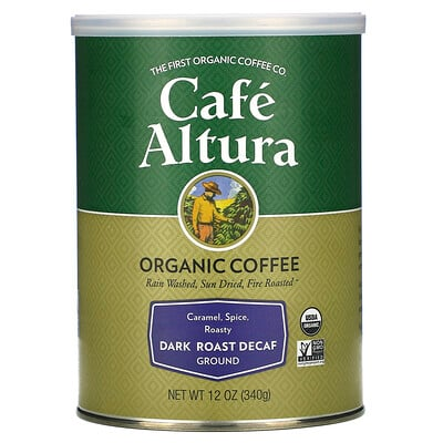Купить Cafe Altura Organic Coffee, Dark Roast Decaf, Ground, 12 oz (340 g)