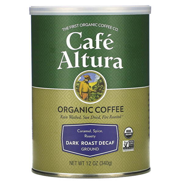 Organic Coffee, Dark Roast Decaf, Ground, 12 oz (340 g)