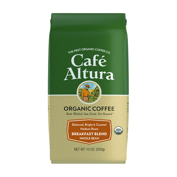 Cafe Altura, Organic Coffee, Breakfast Blend, Medium Roast, Whole Bean, 10 oz (283 g)