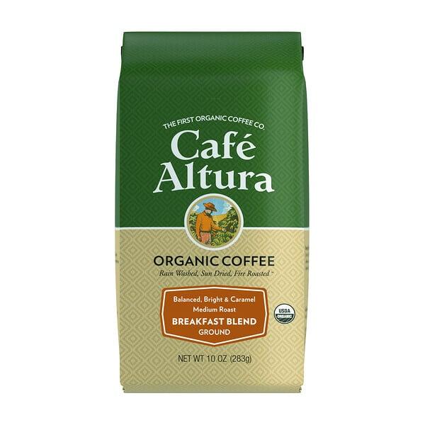 Organic Coffee, Breakfast Blend, Medium Roast, Ground, 10 oz (283 g)