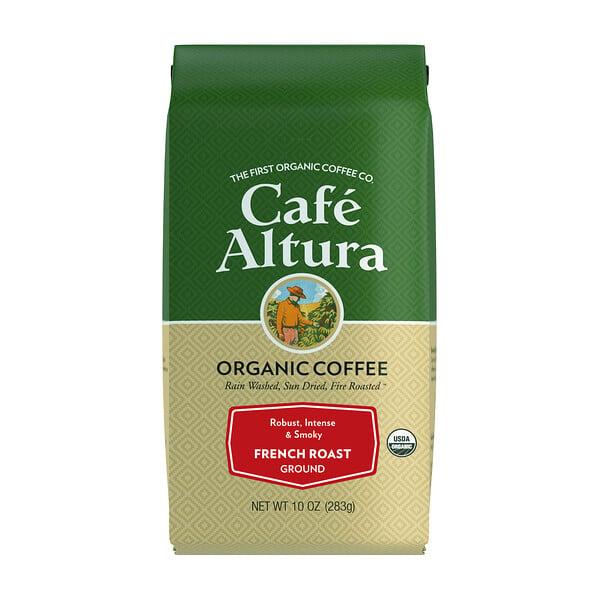 オーガニックコーヒー、フレンチロースト、挽き豆、283g(10オンス)