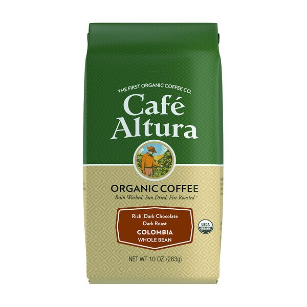Organic Coffee, Colombia, Dark Roast, Whole Bean, 10 oz (283 g)