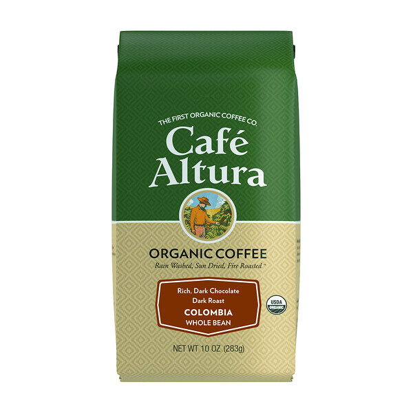 Cafe Altura, Organic Coffee, Colombia, Dark Roast, Whole Bean, 10 oz (283 g)