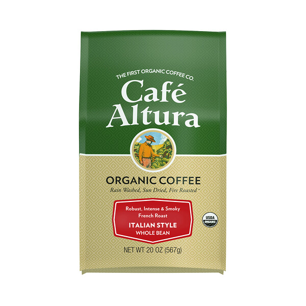 Cafe Altura, Organic Coffee, Italian Style, French Roast, Whole Bean, 20 oz (567 g)
