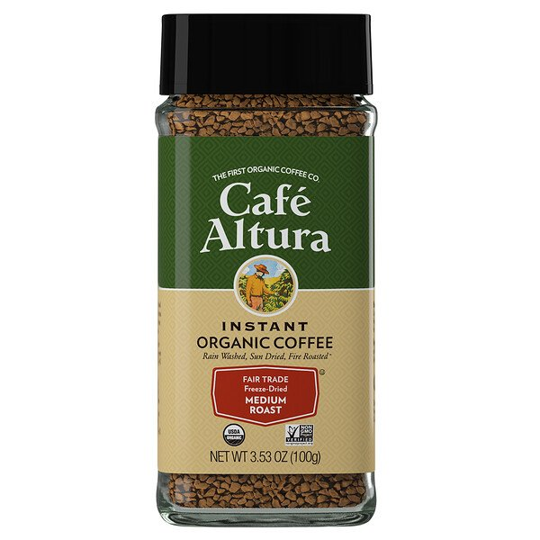 Cafe Altura, Instant Organic Coffee, Medium Roast, Freeze-Dried, 3.53 oz (100 g)