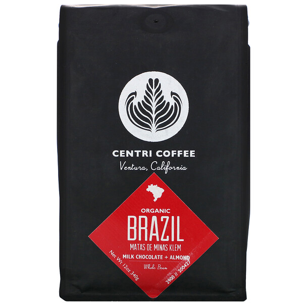 Organic Centri Coffee, Brazil, Whole Bean, Milk Chocolate + Almond, 12 oz (340 g)