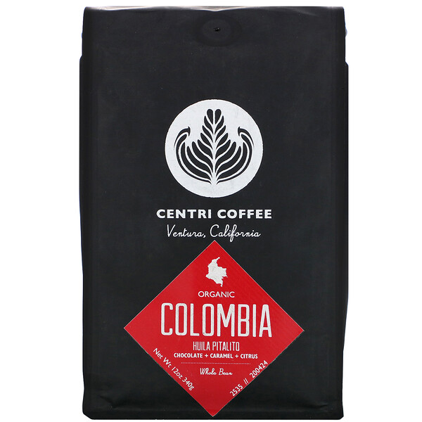 Cafe Altura, Organic Centri Coffee, Colombia, Whole Bean, Chocolate + Caramel + Citrus, 12 oz (340 g)