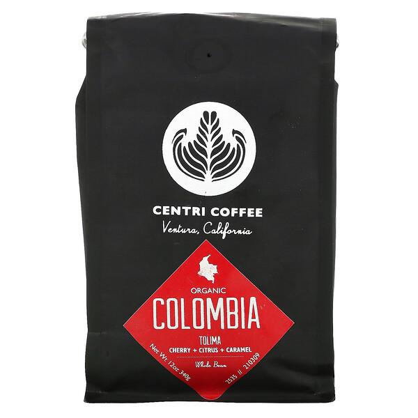 Organic Centri Coffee, Colombia Tolima, Whole Bean, Cherry + Citrus + Caramel, 12 oz (340 g)