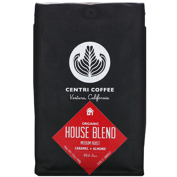 Organic Centri Coffee, House Blend, Medium Roast, Whole Bean, Caramel + Almond, 12 oz (340 g)