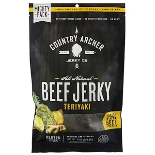 Country Archer Jerky, All Natural Beef Jerky, Teriyaki, 8 oz (226.8 g)