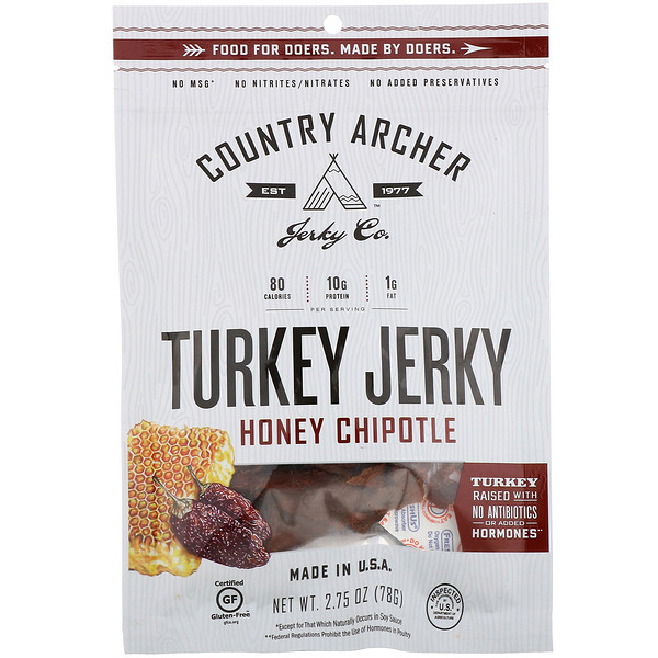 Country Archer Jerky, Turkey Jerky, Honey Chipotle, 2.75 oz (78 g)
