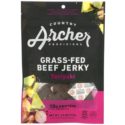 Country Archer Jerky Grass-Fed Beef Jerky, Teriyaki, 2.5 oz (71 g)