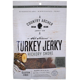 Country Archer Jerky, Абсолютно натуральная вяленая говядина, с запахом дыма, 2,75 унц. (78 г)