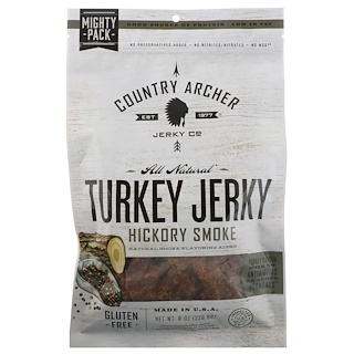 Country Archer Jerky, All Natural Turkey Jerky, Hickory Smoke, 8 oz (226.8 g)