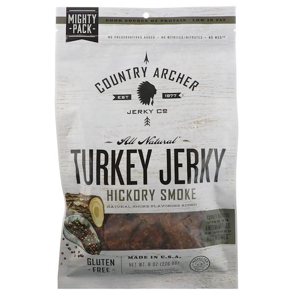Country Archer Jerky, 全天然火雞肉乾,山核桃木煙熏,8盎司(226、8克)