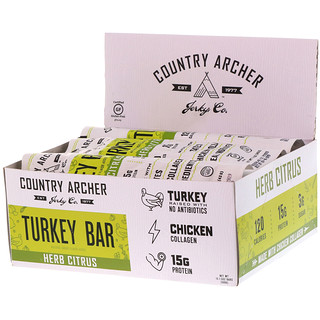 Country Archer Jerky, Turkey Bar, Herb Citrus, 12 Bars, 1.5 oz (42 g)