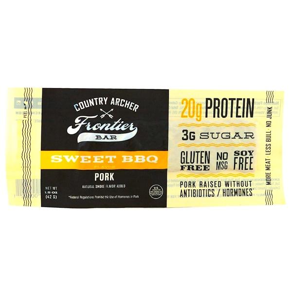 Country Archer Jerky, 邊界條,豬肉,香甜BBQ風味,12條,每條1、5 oz (42 g)