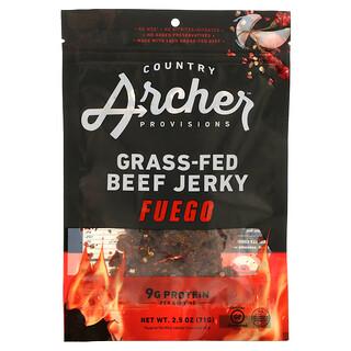 Country Archer Jerky, Grass Fed Beef Jerky, Fuego, 2.5 oz (71 g)