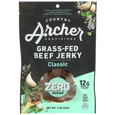 Country Archer Jerky Grass-Fed Beef Jerky, Classic, 2 oz (56 g)