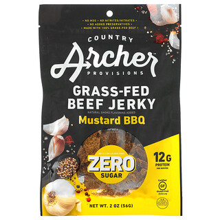 Country Archer Jerky, Grass-Fed Beef Jerky, Zero Sugar, Mustard BBQ,  2 oz (56 g)
