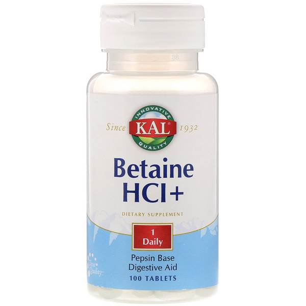 KAL, Betaine HCl+, 100 Tablets