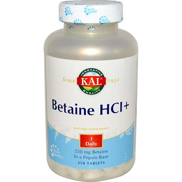 KAL, Betaine HCI+, 250 mg, 250 Tablets (Discontinued Item)