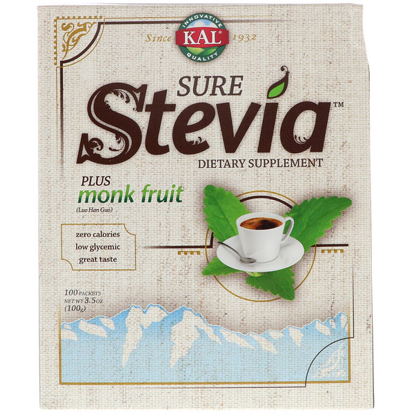 Sure Stevia, Plus Monk Fruit, 100 Packets, 3.5 oz (100 g)