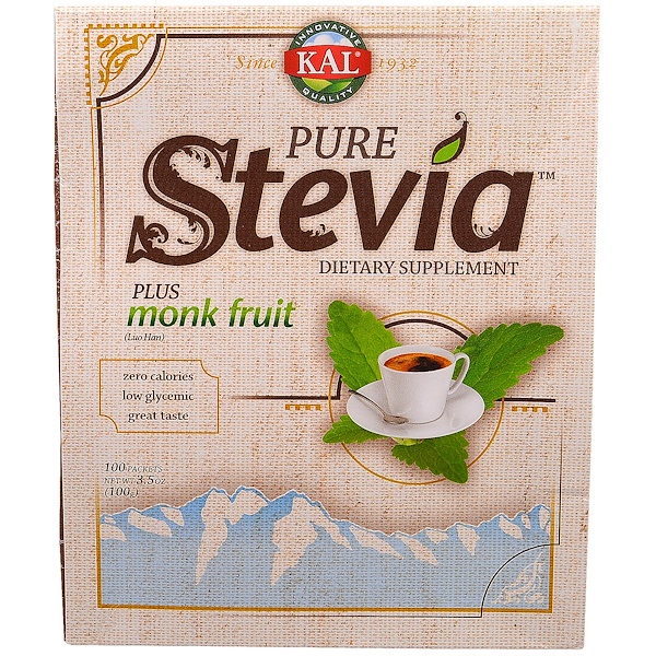 KAL, Pure Stevia, Plus Lo Han Guo Monk Fruit Extract, 100 Packets, 3.5 oz (100 g)