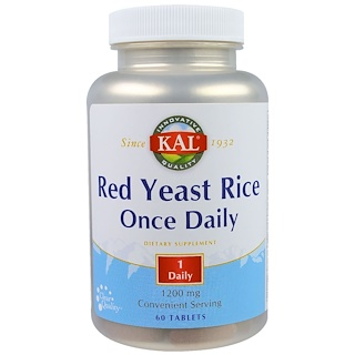 KAL, Red Yeast Rice, Once Daily, 1200 mg, 60 Tablets