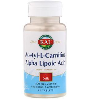 KAL, Acetyl-L-Carnitine & Alpha Lipoic Acid, 500 mg/200 mg, 60 Tablets
