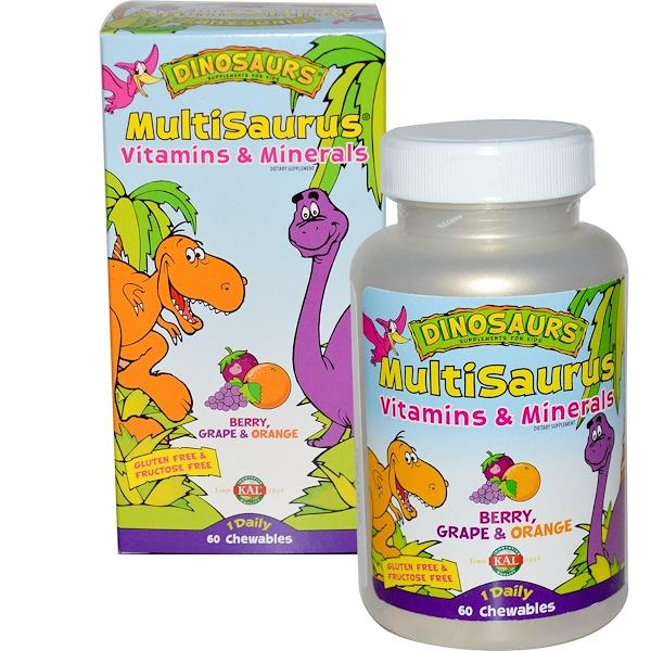 KAL, Dinosaurs, MultiSaurus, Vitamins & Minerals, Berry, Grape & Orange, 60 Chewables (Discontinued Item)