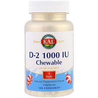 KAL, D2, Natural Peppermint Flavor, 1000 IU, 100 Chewables