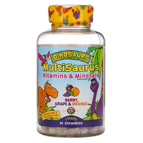 Dinosaurs, MultiSaurus, Vitamins & Minerals, Berry, Grape & Orange, 90 Chewables