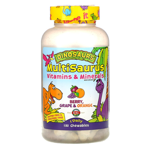 KAL, MultiSaurus, Vitamins and Minerals, Berry, Grape & Orange, 180 Chewables