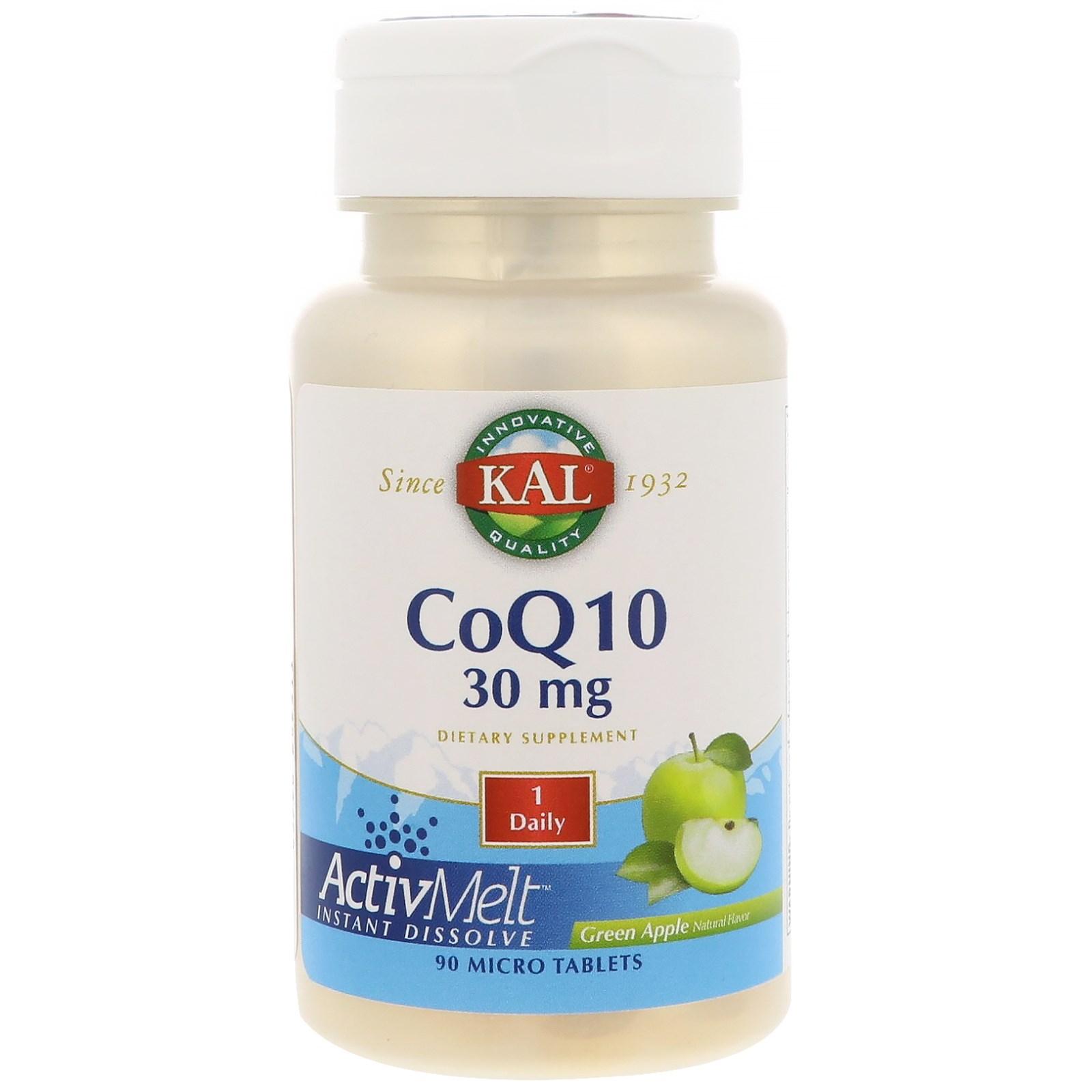 KAL, CoQ10, Green Apple, 30 mg, 90 Micro Tablets