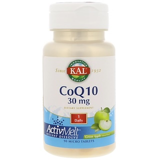 KAL, CoQ10, Green Apple, 30 mg, 90 Micro Tablets