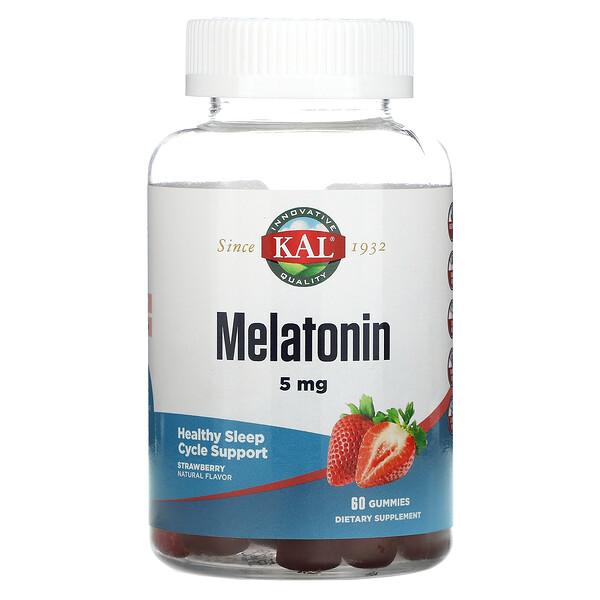 Melatonin, Strawberry, 5 mg, 60 Gummies