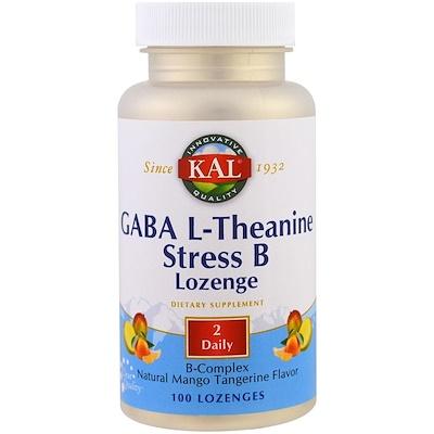 KAL GABA茶胺酸抗壓維生素B錠劑,天然芒果橘味,100片