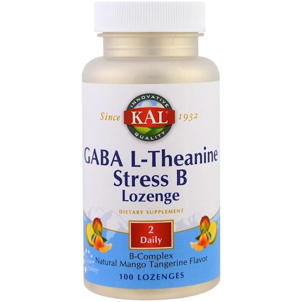 GABA L-Theanine Stress B Lozenge, Natural Mango Tangerine Flavor, 100 Lozenges