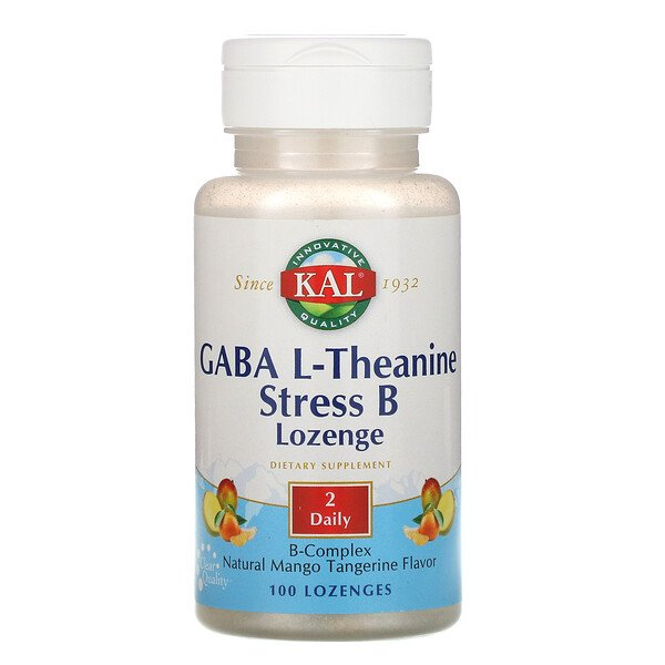 GABA L‐テアニンストレス B トローチ、ナチュラルマンゴータンジェリン味、トローチ 100 粒